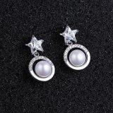 Five-Star Ear Stud Earrings Micro Pave Zircon Pearl Ear Pendant Earrings Korean-Style Women's Copper Jewelry  Qxwe1136