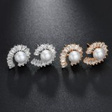 New Style Beaded Earrings AAA Zircon Pearl Stud Earrings Korean Style Exquisite Simple Fashion Earrings  Wholesale Qxwe1199