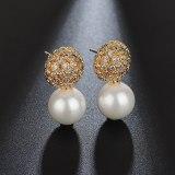 Korean-Style Micro Pave Zircon Earrings 925 Sterling Silver Stud Earrings Pearl Fashion Earrings Qxwe1020