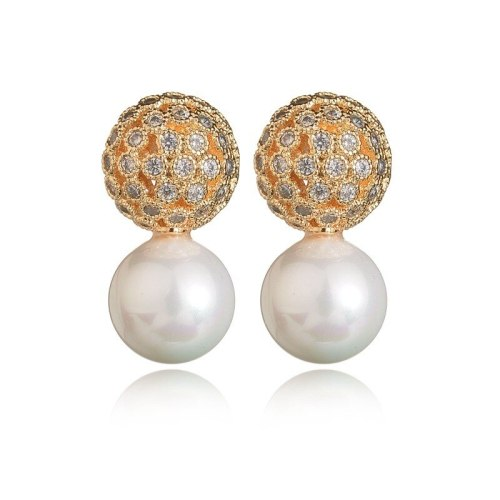 Korean-Style Micro Pave Zircon Earrings 925 Sterling Silver Stud Earrings Pearl Fashion Earrings Qxwe1020
