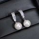 S925 Sterling Silver Pin AAA Zircon 10MM Pearl Earrings Pendant Fashion High-End Ear Stud Earrings  Qxwe1403