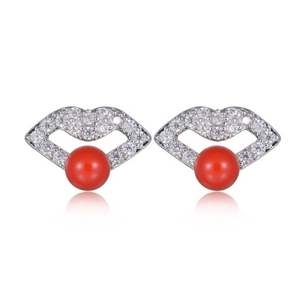 Women's Korean-Style Lip Red Stud Earrings Pearl Zircon Inlaid 925 Sterling Silver Stud Earrings Qxwe870