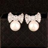 Bow Stud Earrings Copper 925 Silver Pin Inlaid AAA Zircon Pearl Earrings Jewelry Qxwe1021