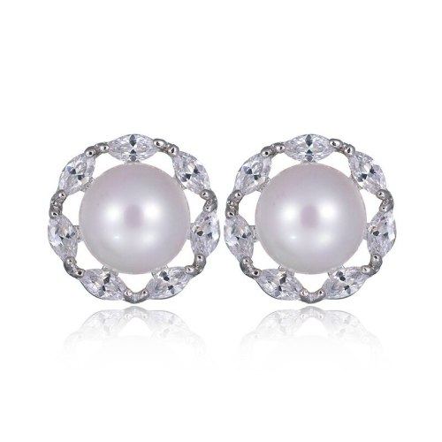 Pearl Stud Earrings S925 Sterling Silver Ear Pin AAA Zircon Inlaid Pearl Earrings  Korean-Style Stud Earrings Qxwe1056