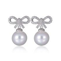 Pearl Earrings Short Women's Pearl Bow Sweet Cute Korean-Style 925 Sterling Silver Pin Stud Earrings Qxwe856