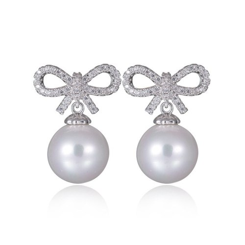 Pearl Earrings Short Women's Pearl Bow Sweet Cute Korean-Style 925 Sterling Silver Pin Stud Earrings Qxwe856