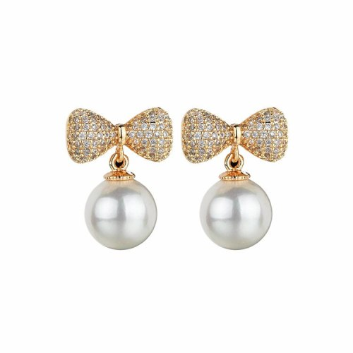Bow Pearl Stud Earrings Copper Micro Pave AAA Zircon Pearl Earrings Pendant Fashion Classic Earrings  Qxwe932
