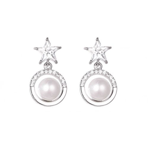 Five-Star Ear Stud Earrings Micro Pave Zircon Pearl Ear Pendant Earrings Korean-Style Women's Copper Jewelry  Qxwe1136