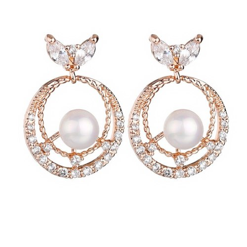 925 Sterling Silver Needle Hollow Zircon Pearl Stud Earrings Korean Fashion Women's New Pearl Earrings All-match Qxwe1194