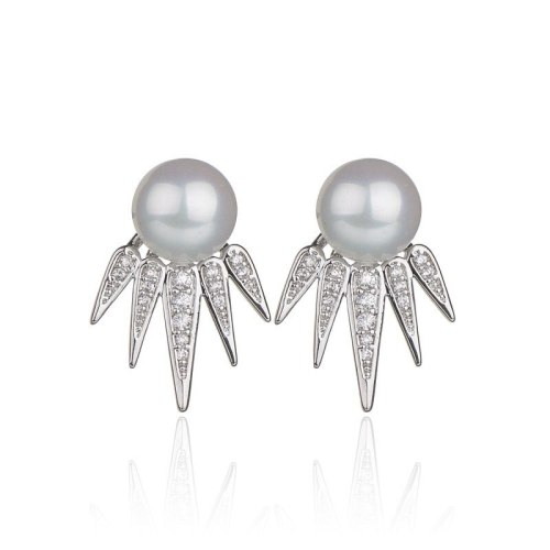 Sterling Silver Stud Earrings Creative Pearl Zircon Copper Inlaid Earrings Female Korean-Style Earrings Wholesale Qxwe931