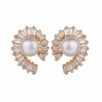 New Style Beaded Earrings AAA Zircon Pearl Stud Earrings Korean Style Exquisite Simple Fashion Earrings  Wholesale Qxwe1199