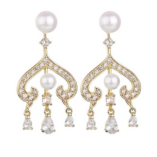 New 925 Sterling Silver Ear Pin Pearl Stud Earrings AAA Exquisite Zircon Earrings Fashion Women Qxwe1260