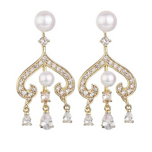 New 925 Sterling Silver Ear Pin Pearl Stud Earrings AAA Exquisite Zircon Earrings Fashion Women Qxwe1260
