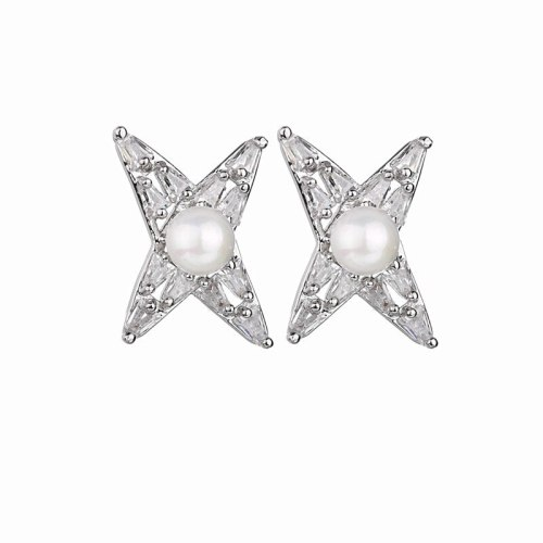 Pearl Stud Earrings AAA Zircon Inlaid 925 Sterling Silver Needle Earrings  Young Fashion Geometric Star Stud Earrings QxWE