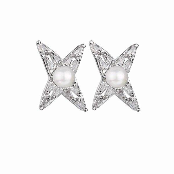 Pearl Stud Earrings AAA Zircon Inlaid 925 Sterling Silver Needle Earrings  Young Fashion Geometric Star Stud Earrings QxWE
