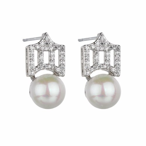 Korean Style Fashion 925 Sterling Silver Stud Earrings Pearl AAA Zircon Inlaid Crown Female Earrings Jewelry Qxwe1224
