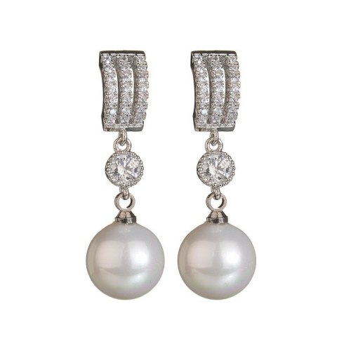 AAA Zircon Micro Pave Korean-Style Fashion Pearl Earrings Pendant 925 Sterling Silver Needle Female Stud Earrings Gift Qxwe984