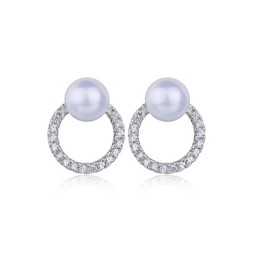 Korean Elegant Pearl Stud Earrings Female All-match Elegant Shiny AAA Zircon Ear Stud Earrings Wholesale Qxwe1142
