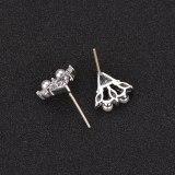 Pearl Stud Earrings 925 Sterling Silver Pin AAA Zircon Inlaid Earrings  Cool Simple Stud Earrings Student Earrings  Qxwe1027