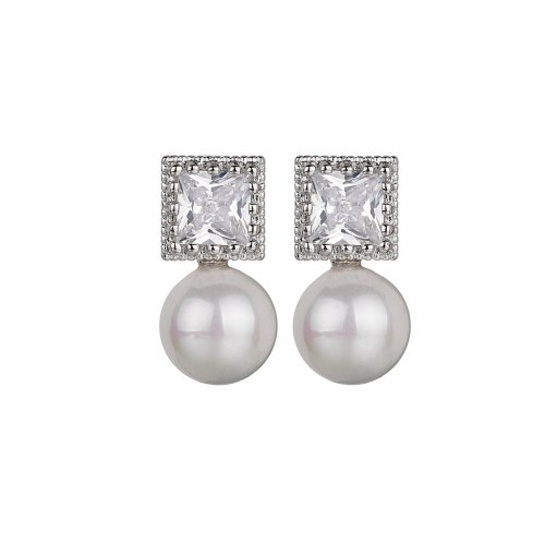 925 Silver Pin AAA Zircon Stud Earrings Simple Single Diamond Pearl Earrings  Han Fashion Girl Jewelry Qxwe1127