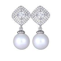 Korean Fashion Pearl Earrings AAA Zircon Copper Micro Pave Simple Ear Stud Earrings 925 Sterling Silver Ear Pin Qxwe682
