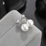 Simple Pearl Stud Earrings AAA Zircon Inlaid Pearl Earrings  Shell White Ear Stud Earrings Qxwe331