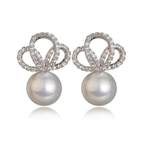 Shell Pearls Stud Earrings Crown AAA Zircon Inlaid Stud Earrings Gorgeous Earrings Plated Platinum Qxwe902