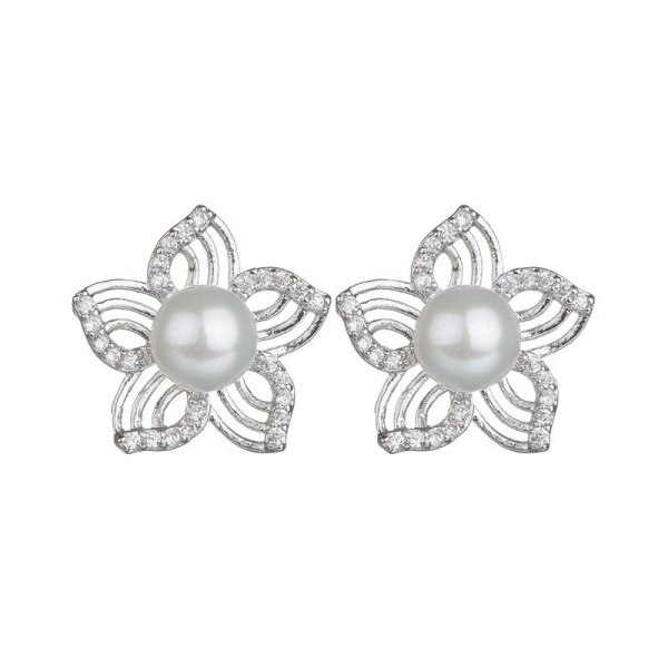 Korean-Style Pearl Stud Earrings Simple Lotus Copper Inlaid Zircon Earrings All-match Earrings Jewelry Qxwe936