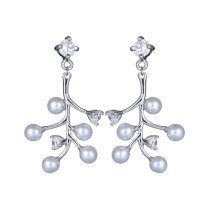 Korean-Style Pearl Snowflake Earrings 925 Sterling Silver Ear Pin AAA Zircon Inlaid Fashion Simple Ear Stud Earrings Qxwe1031