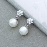 Round Pearl Earrings Inlaid AAA Zircon Snowflake Ear Stud Earrings Simple Girl's Heart Student Stud Earrings Qxwe636