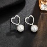 Korean-Style Pearl Stud Earrings AAA Zircon Inlaid Geometric Simple Earrings 925 Sterling Silver Ear Pin Qx1212