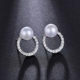 Korean Elegant Pearl Stud Earrings Female All-match Elegant Shiny AAA Zircon Ear Stud Earrings Wholesale Qxwe1142