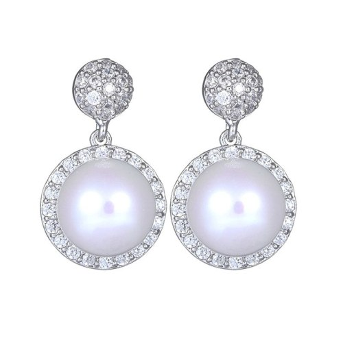 S925 Sterling Silver Ear Pin Pearl Earrings AAA Zircon Inlaid Ear Stud Earrings Simple and Exquisite Earrings Jewelry Qxwe999
