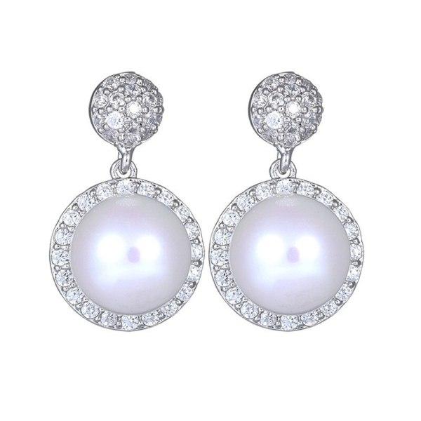 S925 Sterling Silver Ear Pin Pearl Earrings AAA Zircon Inlaid Ear Stud Earrings Simple and Exquisite Earrings Jewelry Qxwe999