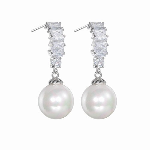 S925 Sterling Silver Pin AAA Zircon 10MM Pearl Earrings Pendant Fashion High-End Ear Stud Earrings  Qxwe1403