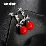 925 Sterling Silver Pin Pearl Earrings AAA Zircon Pearl Ear Pendant Korean Style Simple Fashion Girl Stud Earrings Qxwe1261
