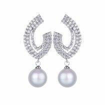 Geometric Stud Earrings AAA Zircon Inlaid Shell Pearls Fashion Earrings Pendant Wedding Jewelry Qxwe976