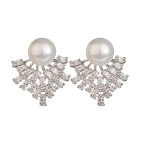 Korean-Style Exaggerated Pearl Zircon Earrings Elegant Gorgeous Dinner Ornament 925 Silver Stud Earrings Qxwe1041
