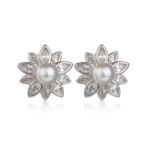 Flower Stud Earrings AAA Zircon Inlaid Fashion Pearl Earrings  Women's Ear Stud 925 Silver Pin Earrings  Qxwe805