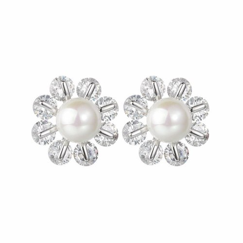 Korean Style New Pearl Zircon Earrings Inlaid S925 Sterling Silver Ear Pin All-match Girl's Stud Earrings Qxwe1408