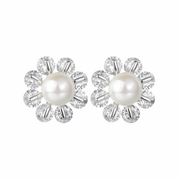 Korean Style New Pearl Zircon Earrings Inlaid S925 Sterling Silver Ear Pin All-match Girl's Stud Earrings Qxwe1408
