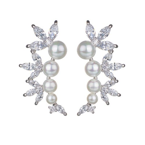 Korean Style Earrings AAA Zircon Earrings Pearl Exquisite Fashion Gorgeous Stud Earrings Jewelry Qxwe809