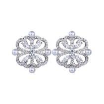 Korean Style New Pearl Stud Earrings AAA Zircon Inlaid Ear Stud Fashion High-End Earrings Qxwe1112