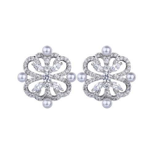 Korean Style New Pearl Stud Earrings AAA Zircon Inlaid Ear Stud Fashion High-End Earrings Qxwe1112