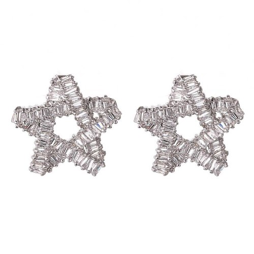 AAA Zircon Inlaid Stud Earrings Korean Earrings 925 Silver Pin Earrings Stars Ear Stud Earrings Qxwe789
