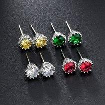 Copper Inlaid Crystal Zircon Men and Women Earrings Crown Hollow Ear Stud Earrings Qxwe406