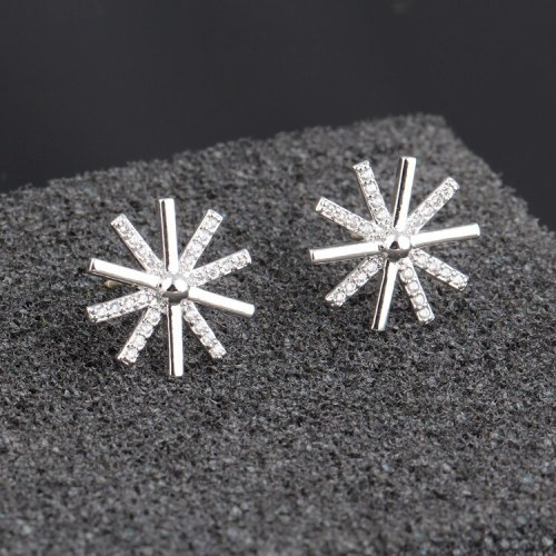 Snowflake Long Tassel Earrings Korean Fashion Ear Stud Earrings Zircon Earrings Qxwe759