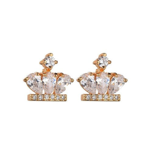 Crown Stud Earrings Inlaid High Quality AAA Zircon Earrings  925 Sterling Silver Pin Qxwe848