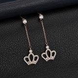 Japanese and Korean-Style Simple Tassel Long Crown Earrings Female 925 Sterling Silver Ear Stud Simple Vintage Ear Stud Qxwe1086