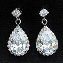 Korean-Style Earrings Copper Inlaid Drop AAA Zircon Stud Earrings Micro Pave Small Diamond All-match Jewelry Qxwe151